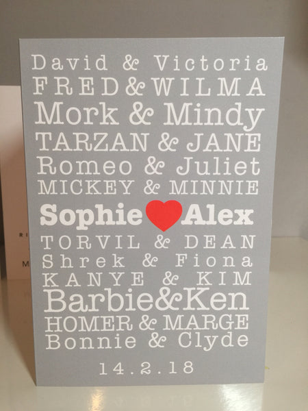 Iconic Couples Personalised A5 Card