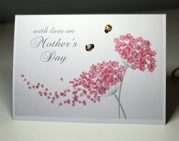 """With Love on Mother's Day"" A5 Bee Card"