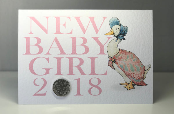 Personalised 'New Baby Girl' Beatrix Potter Coin Card
