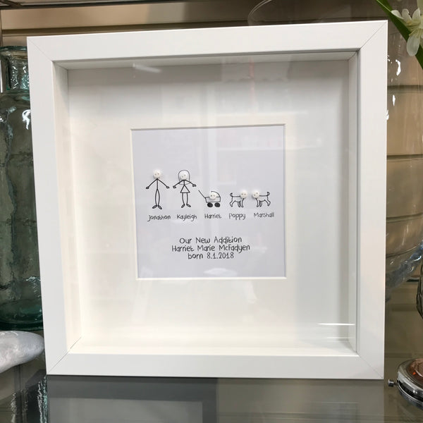 """Our New Addition"" Personalised Button Frame"