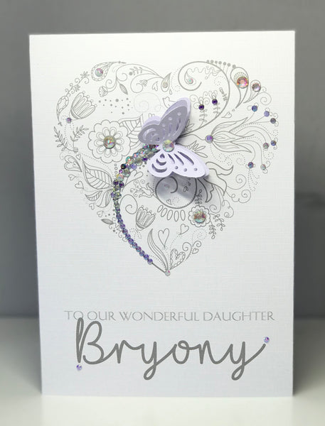 Personalised Purple Butterfly A5 Greeting Card