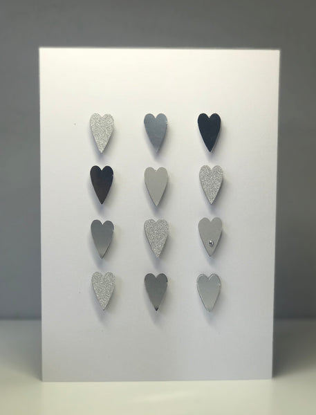 Glitter Silver Hearts A5 Greeting Card
