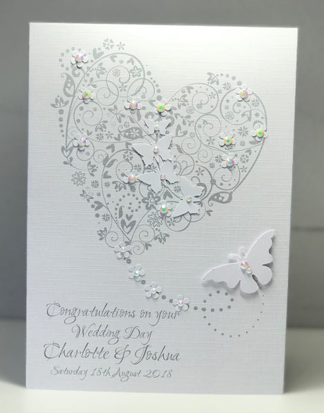 Personalised Wedding Day Heart A5 Card