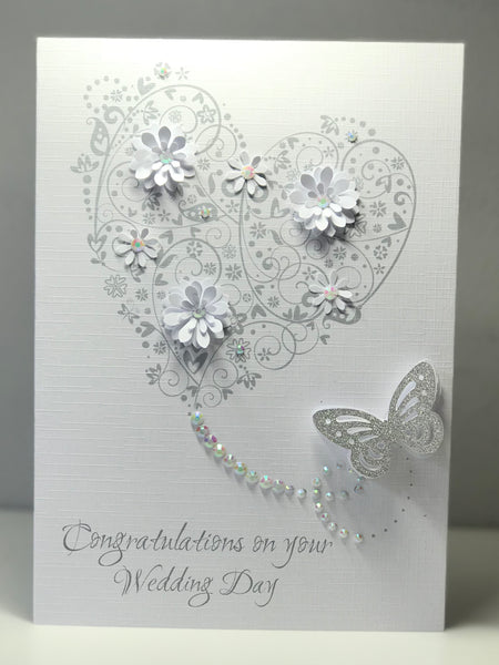 Wedding Day Flower Butterfly A5 Card
