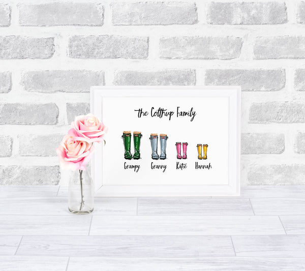 Wellington Boots Family Personalised Print
