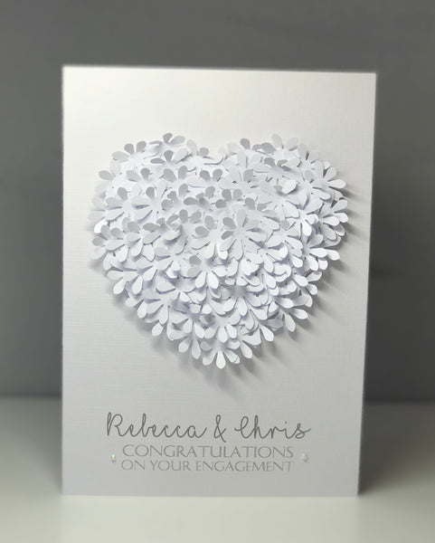 Personalised White Bouquet Engagement A5 Card