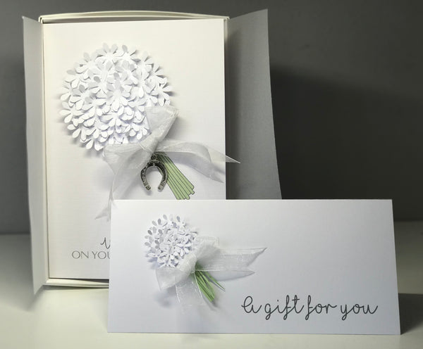 White Handmade Wedding Card Boxed With Matching Money Wallet The