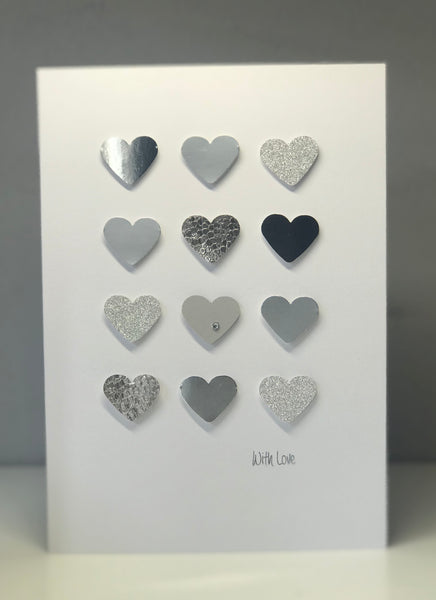 'With Love' Large Glitter Hearts A5 Greeting Card
