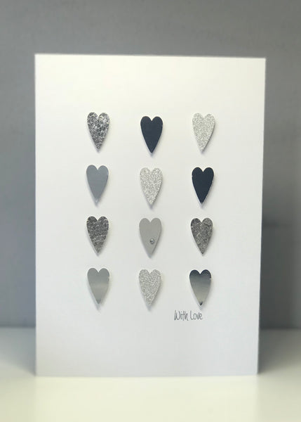 'With Love' Silver Hearts A5 Greeting Card