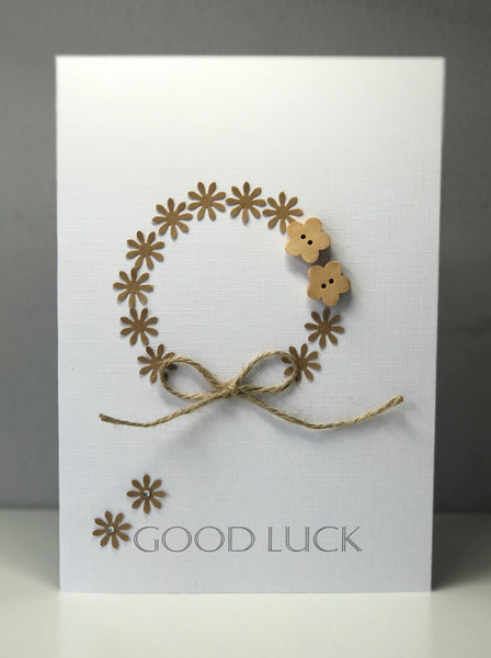 Wooden Flowers 'Good Luck' A5 Greeting Card