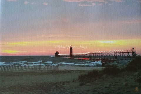 "Photo Print--Canvas--11"" x 14""--Grand Haven, MI, Lighthouse"