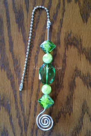 Pulls--Green Glass and Acrylic Beaded Ceiling Fan/Light Pull