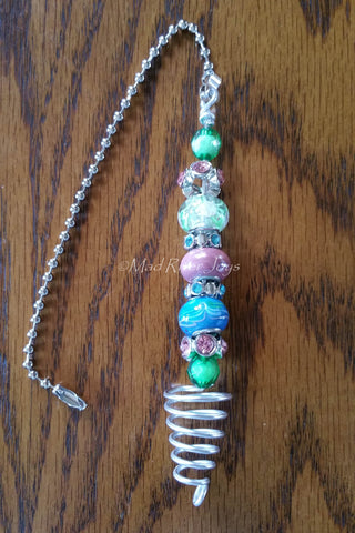 Pulls--Pink, Blue, and Green Acrylic and Glass Beaded Ceiling Fan/Light Pull
