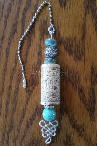 Pulls--Cork, Turquoise, and Silver Beaded Ceiling Fan/Light Pull