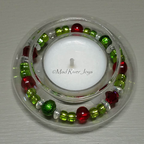 Tea Lights--Floating--Christmas Beaded Tea Light Set