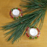 Tea Lights--Floating--Poinsettia Beaded Tea Light Set