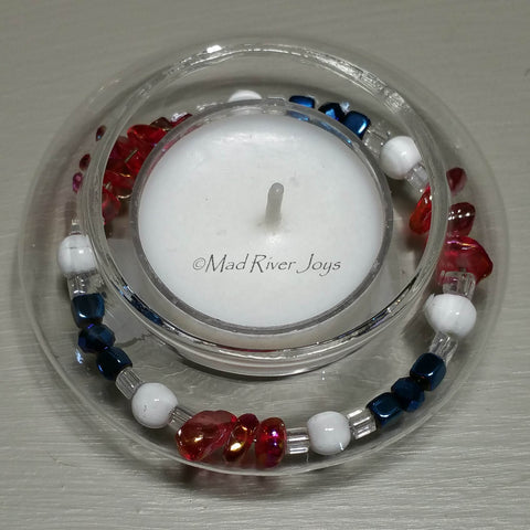 Tea Lights--Floating--Pebble Red White Blue Beaded Tea Light Set