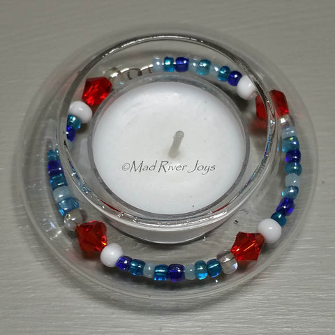 Tea Lights--Floating--Nautical Red White Blue Beaded Tea Light Set