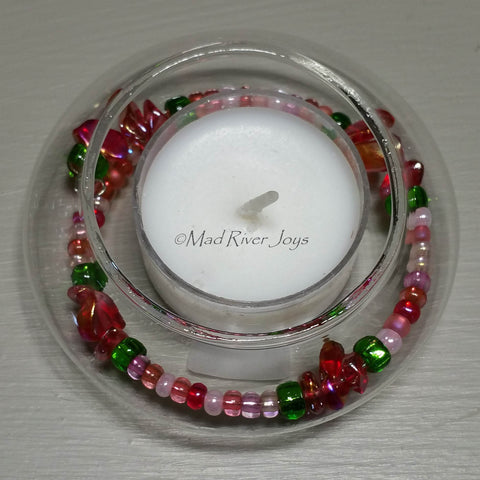 Tea Lights--Floating--Strawberry Beaded Tea Light Set