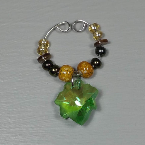 Wine Glass Charms--Glass Crystal Leaf--Mottled Sand