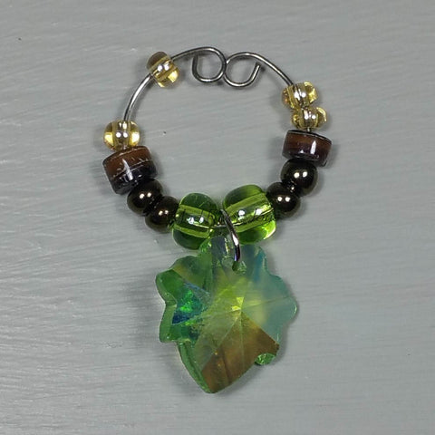 Wine Glass Charms--Glass Crystal Leaf--Light Green Transparent