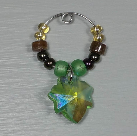 Wine Glass Charms--Glass Crystal Leaf--Green Matte