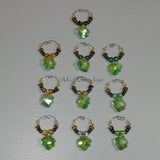 Wine Glass Charms--Glass Crystal Leaf--Gold/Clear
