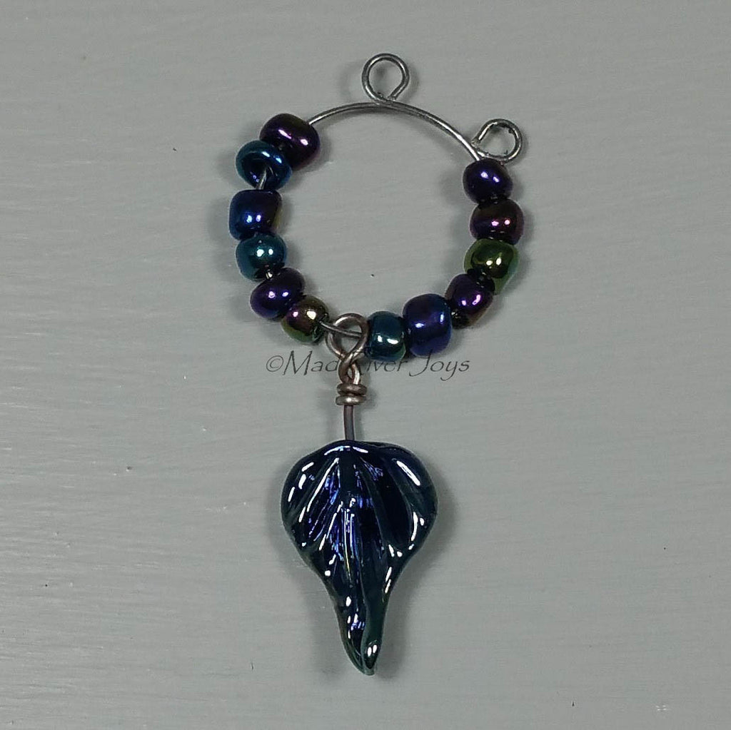 Wine Glass Charms--Lampwork Leaf--Triton
