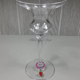 Wine Glass Charms--Lampwork Strawberry--Yellow