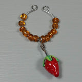 Wine Glass Charms--Lampwork Strawberry--Orange
