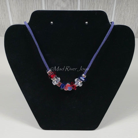 Necklace--Dark Blue USA Charm