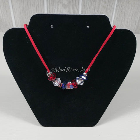 Necklace--Red USA Charm