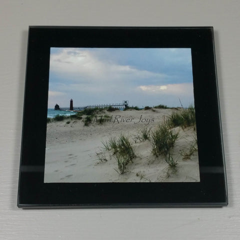 Coasters--Photo Print--Glass--Grand Haven, MI, Lighthouse Dune