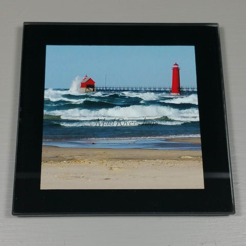 Coasters--Photo Print--Glass--Grand Haven, MI, Lighthouse Rough Seas