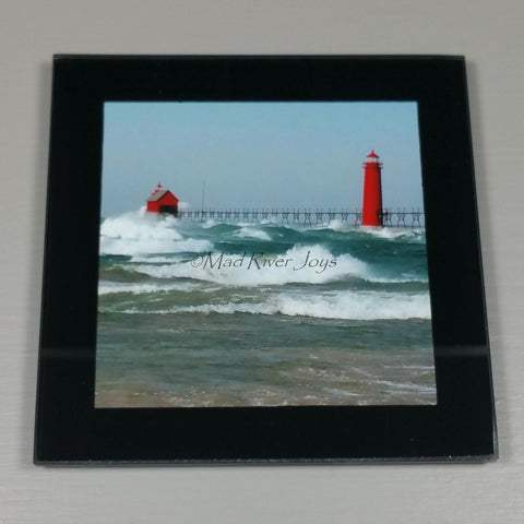 Coasters--Photo Print--Glass--Grand Haven, MI, Lighthouse Breaks Wave