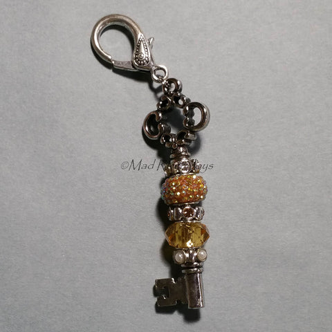 Purse Dangle--Key--Gold Sparkle