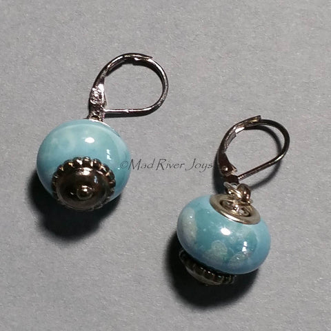 Earrings--Big Bead--Cloud Blue
