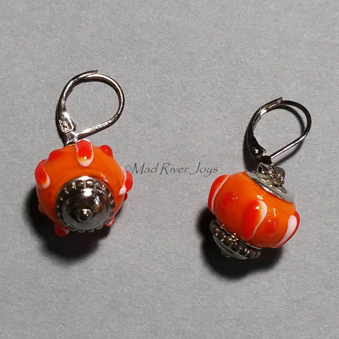 Earrings--Big Bead--Pumpkin Orange
