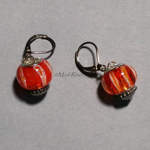 Earrings--Big Bead--Striped Vermillion