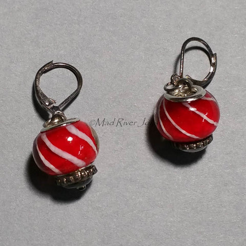 Earrings--Big Bead--Spiral Striped Red