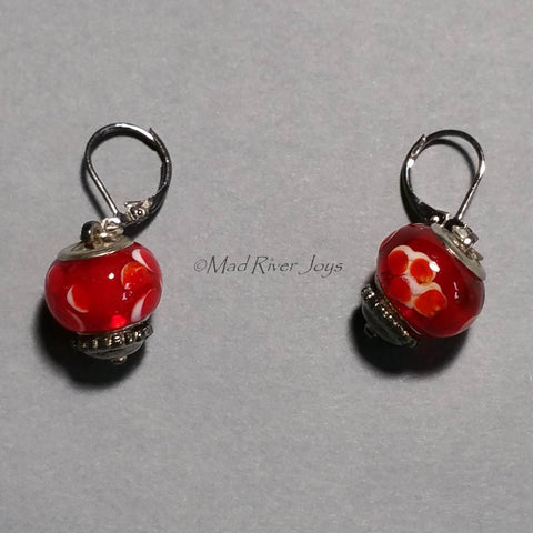 Earrings--Big Bead--Floral Red