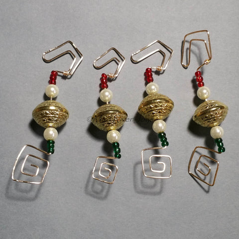 Ornament Hanger--Gold and Glass Pearl Christmas--Set of 12