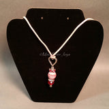 Necklace--Pink Swirl Heart Drop