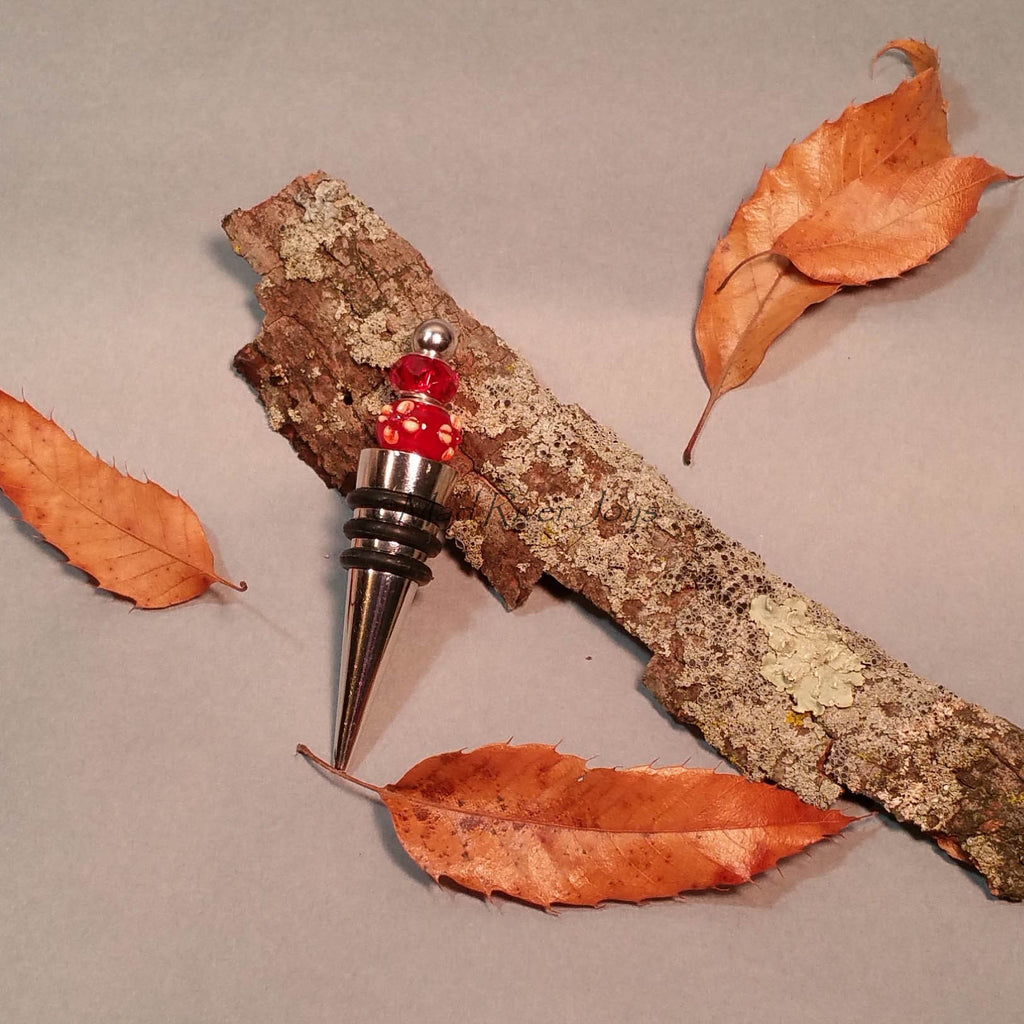 Bottle Stopper--Red Floral