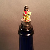 Bottle Stopper--Large Green Lampwork Frog on Red Glass Bead