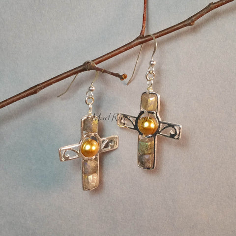 Earrings--Silver Cross--God's Shining Light