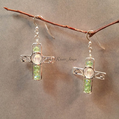 Earrings--Silver Cross--Light Green AB