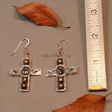 Earrings--Silver Cross--Hematite Heart/Jet Pearl