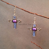 Earrings--Silver Cross--Blue/Purple