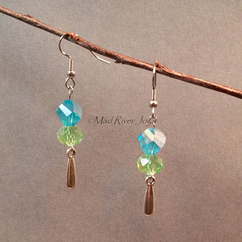 Earrings--Aqua Spiral/Light Green Drop